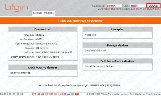 tilgin-hg2331-modem-sifresi-nedir
